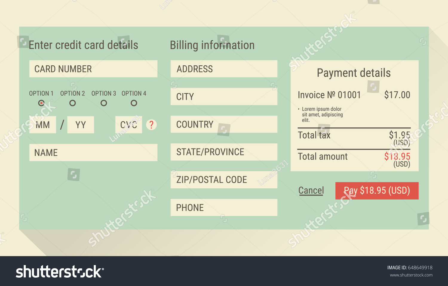 online payment form online digital invoice stock vector royalty