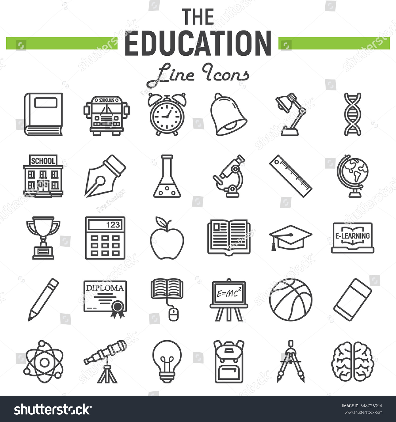 Education line icon set school symbols stock vector 648726994 education line icon set school symbols collection knowledge vector sketches logo illustrations biocorpaavc Image collections
