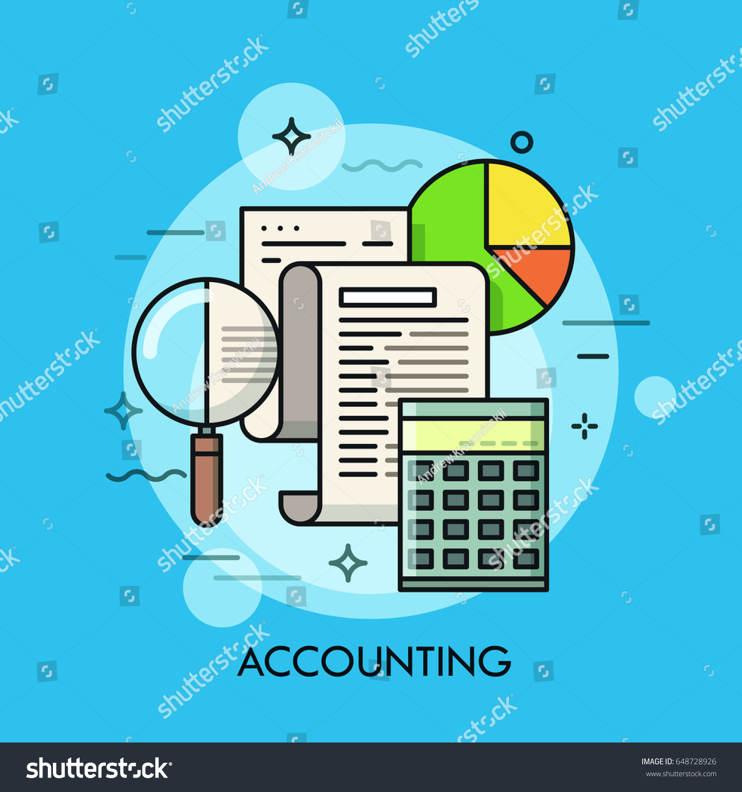 Paper document magnifying glass calculator pie stock vector paper document magnifying glass calculator and pie chart accounting and auditing service nvjuhfo Choice Image