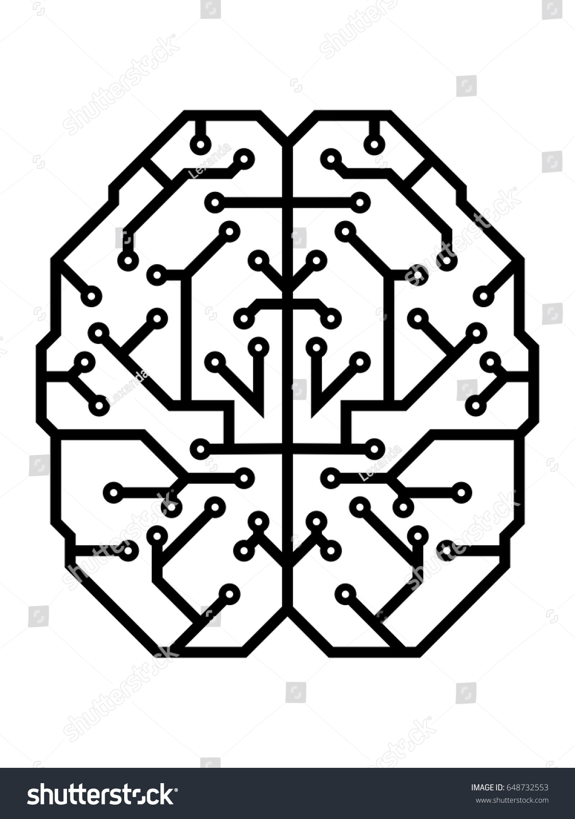 Mind as an electric printed circuit board. Printed wiring board in a human brain form  sc 1 st  Shutterstock : wiring brain - yogabreezes.com