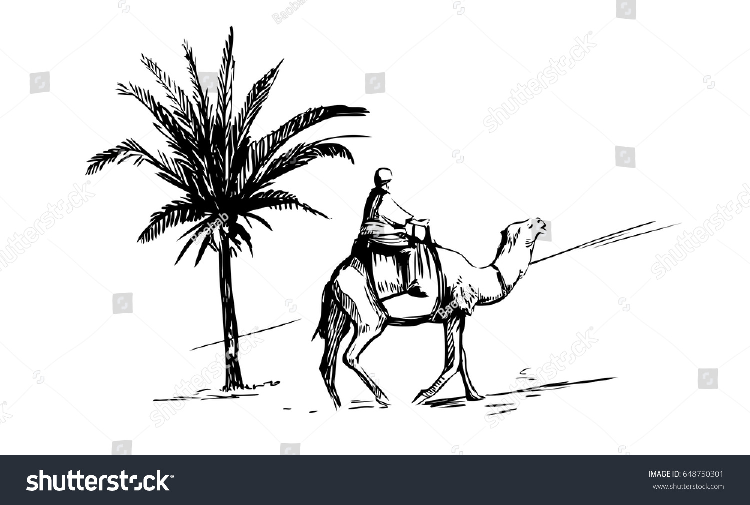 sketch man on camel desert palm stock vector 648750301 shutterstock