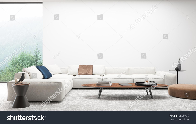 Interior Modern Living White Sofa Set Stock Illustration 648769678 ...