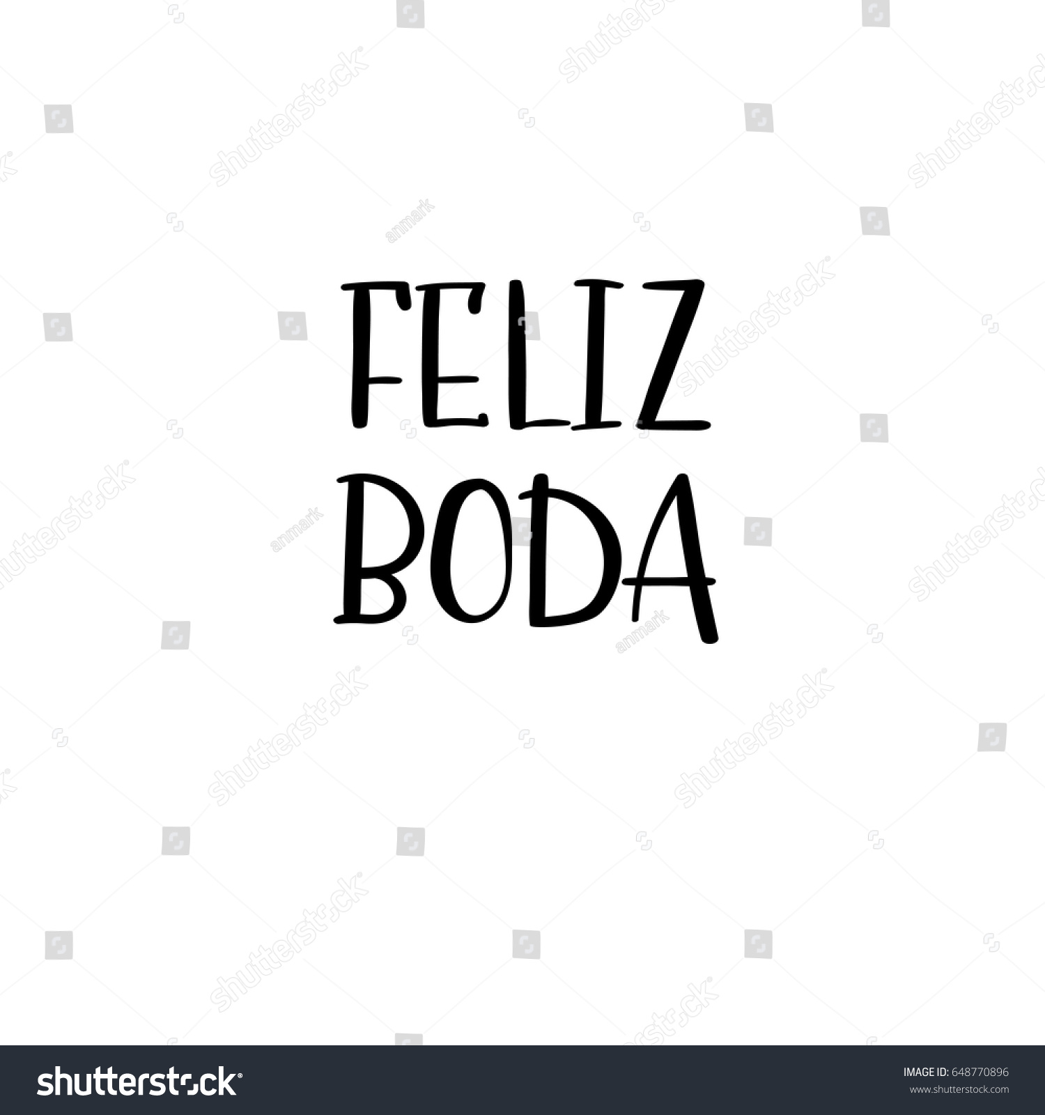 Happy Wedding Hand Lettering Text Spanish Stock Vector (Royalty Free ...