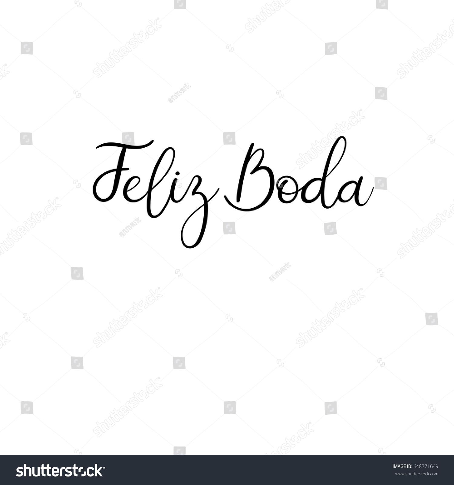 Happy wedding hand lettering text in Spanish. Feliz Boda ...