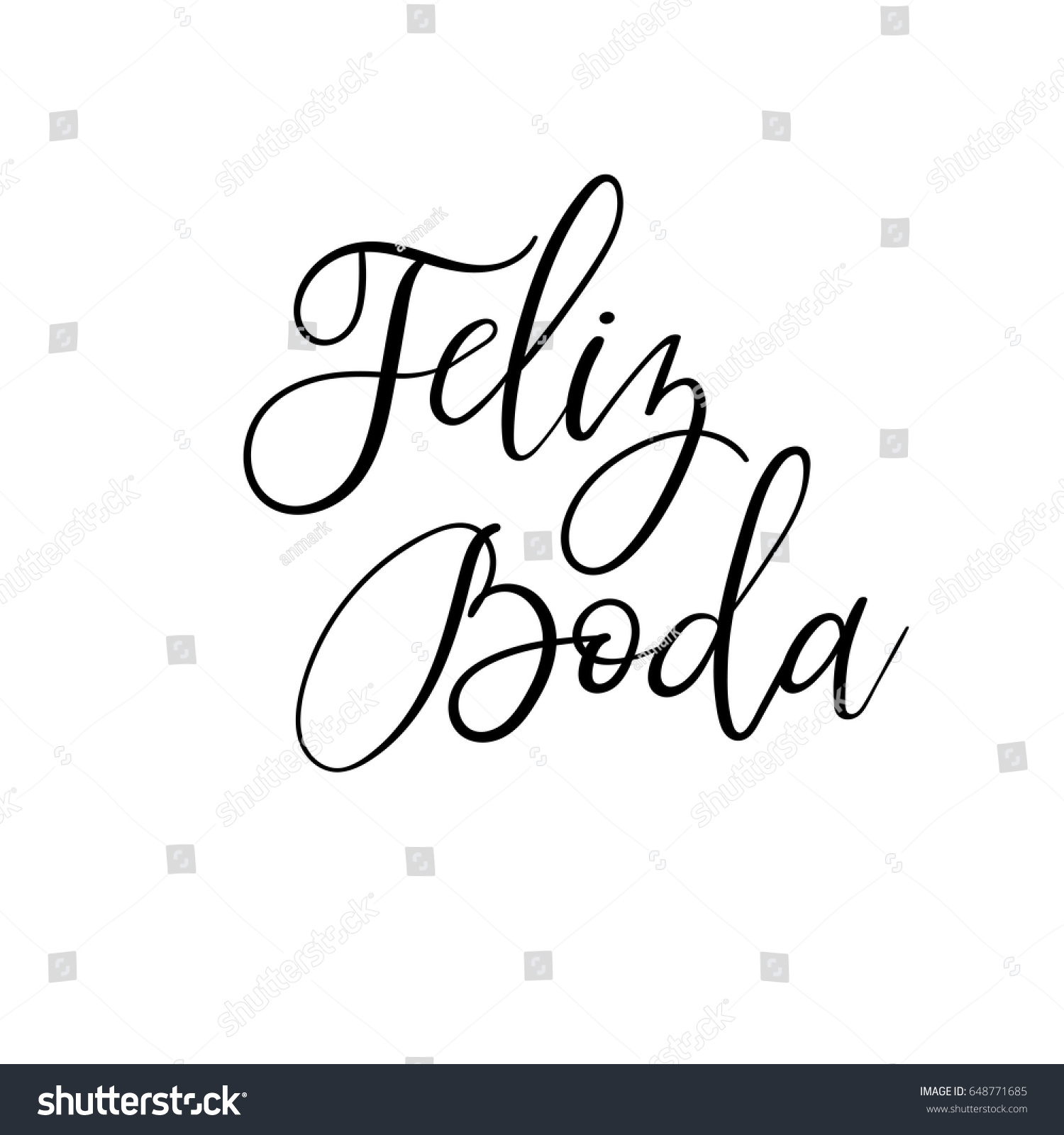 Happy Wedding Hand Lettering Text Spanish Stock Vector 648771685 ...