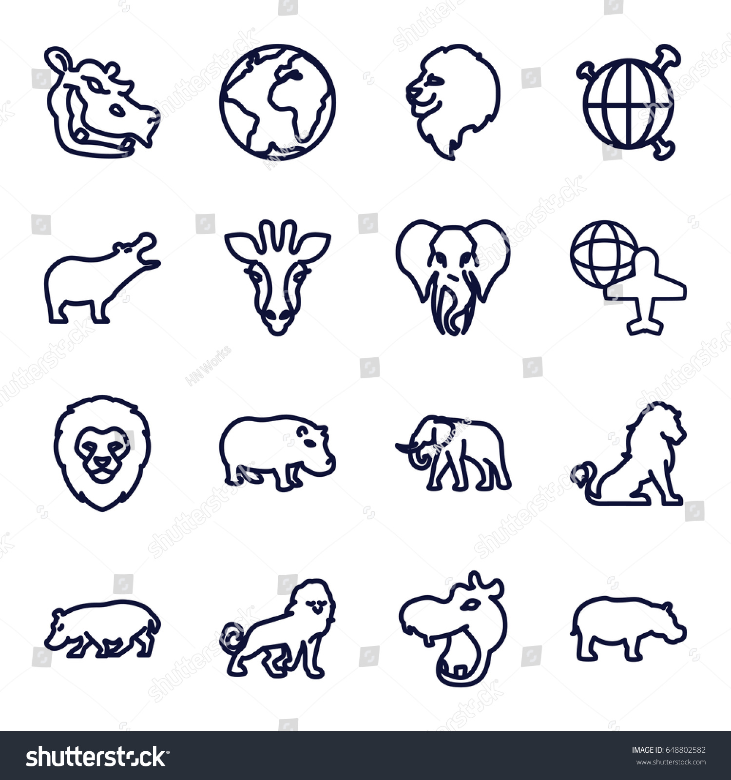 africa icons set set 16 africa stock vector 648802582 shutterstock