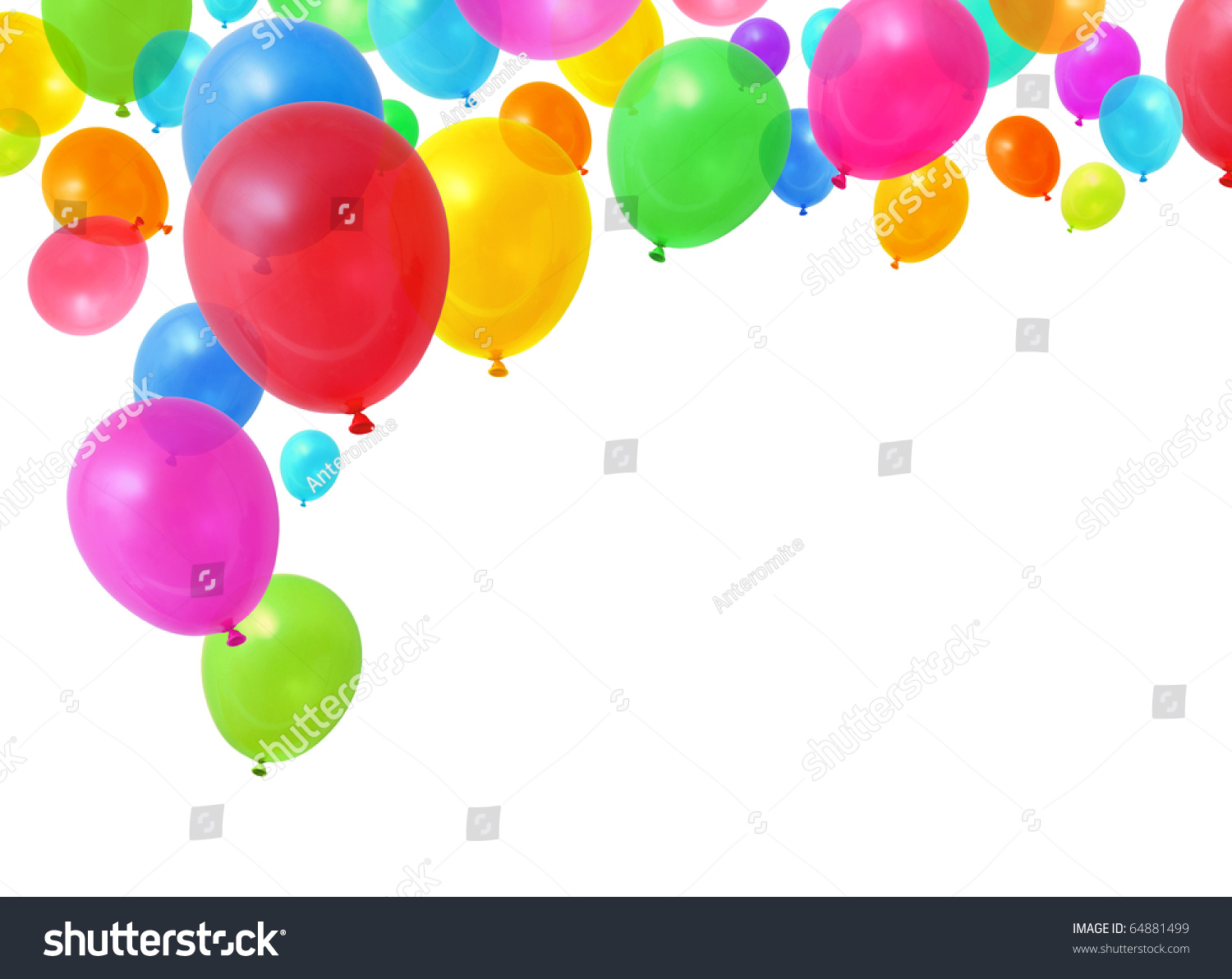 Colorful birthday party balloons flying on stock for Background decoration images