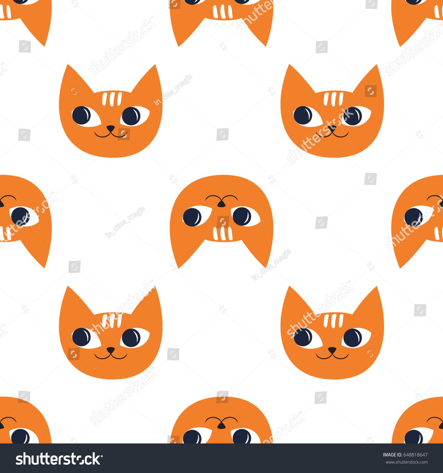 Cute Cats Seamless Pattern On White 648818647