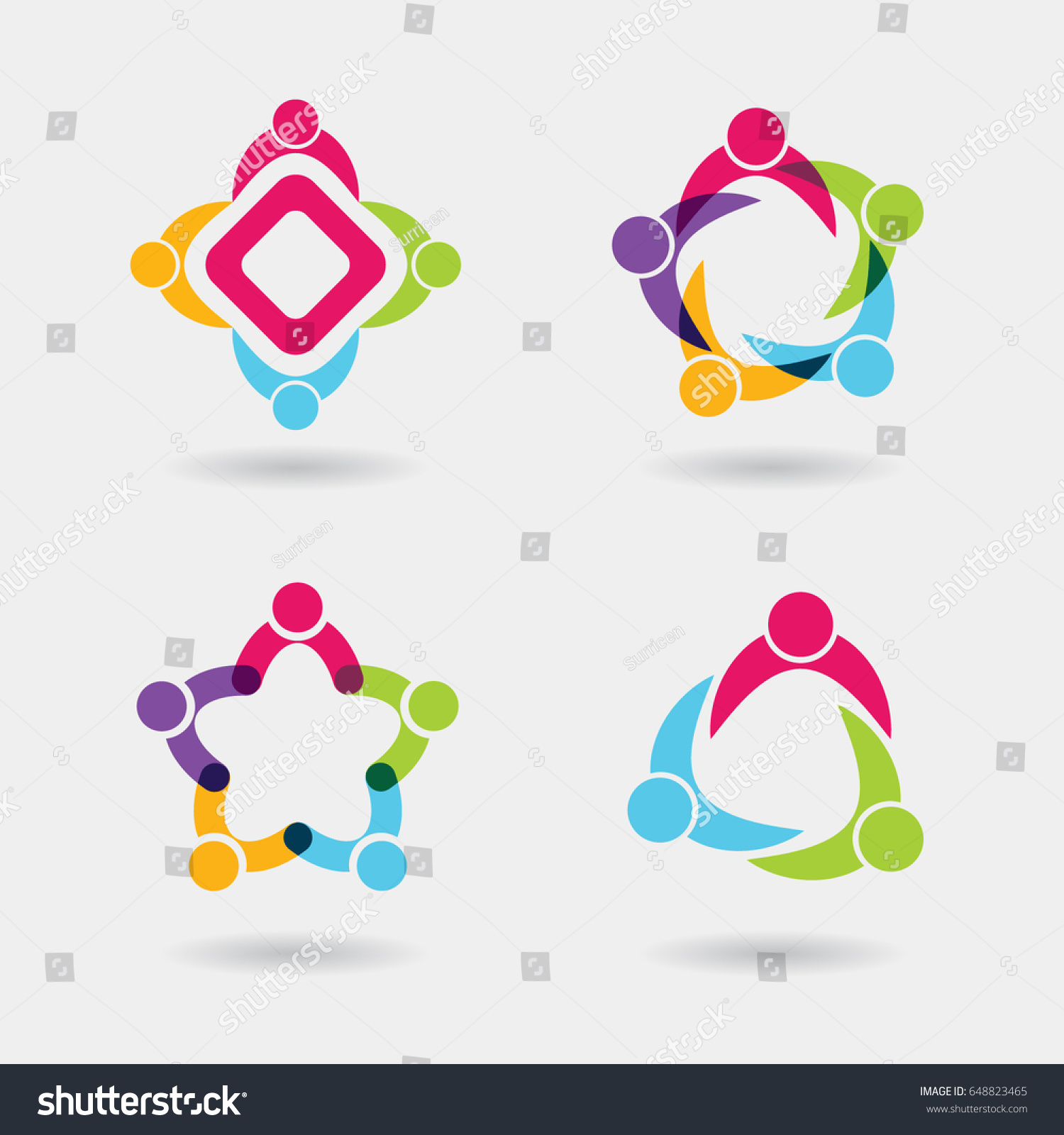 Vector Social Logo Icons People Together Stock Vector ...