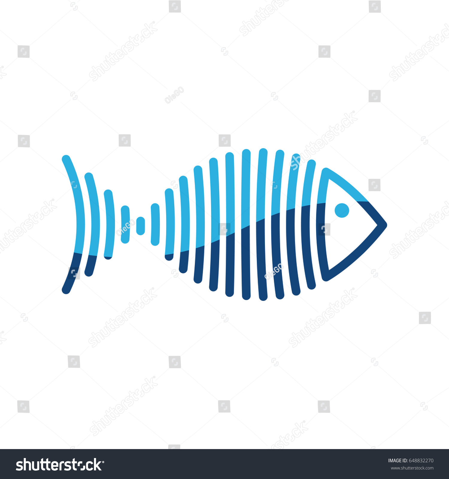 Stylized blue fish is lines logo vector illustration