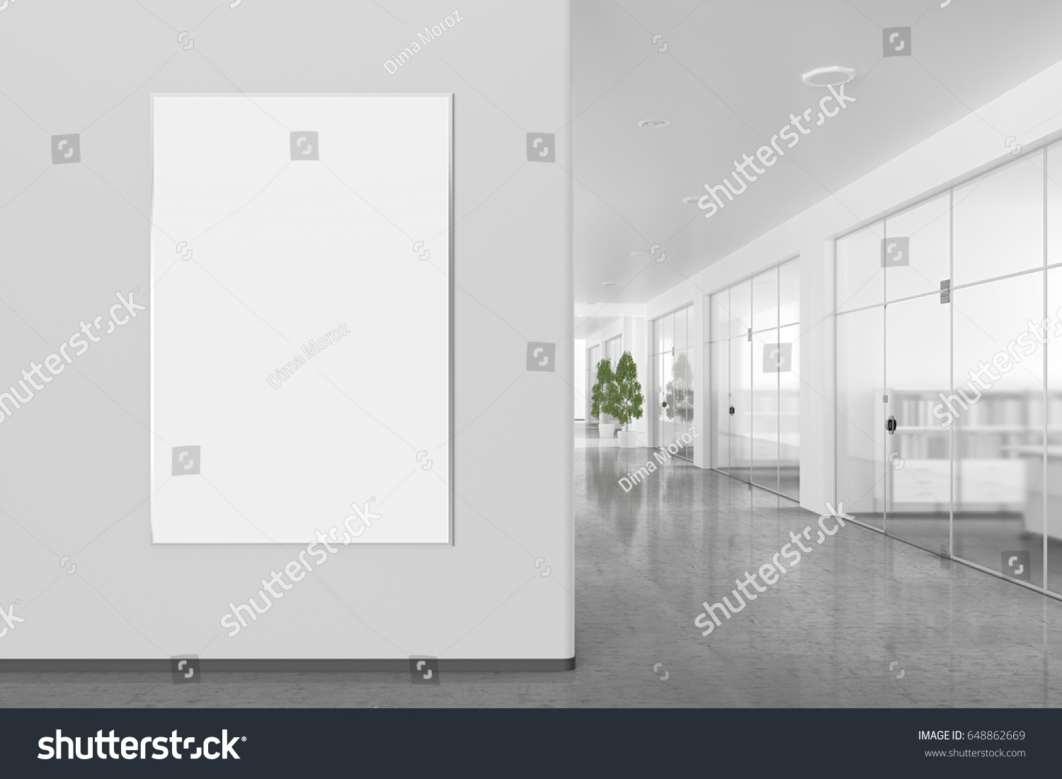 bright office. Blank Poster On Wall Bright Office Stock Illustration 648862669 - Shutterstock