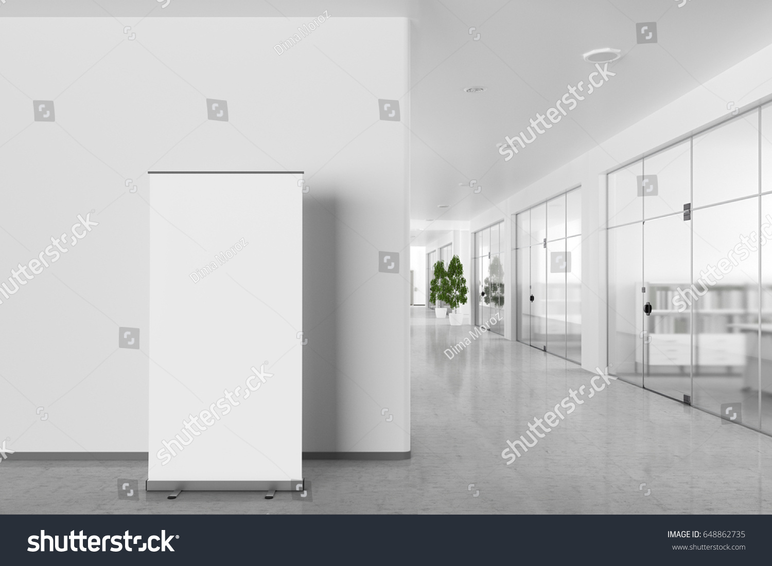 bright office. Blank Roll Banner Stand Bright Office Stock Illustration 648862735 - Shutterstock R