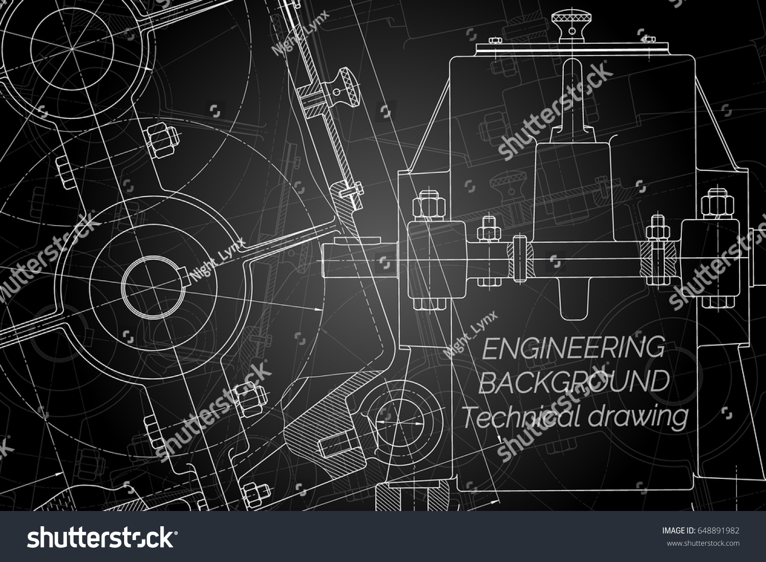Mechanical engineering drawings on black background stock vector mechanical engineering drawings on black background reducer technical design cover blueprint malvernweather Images