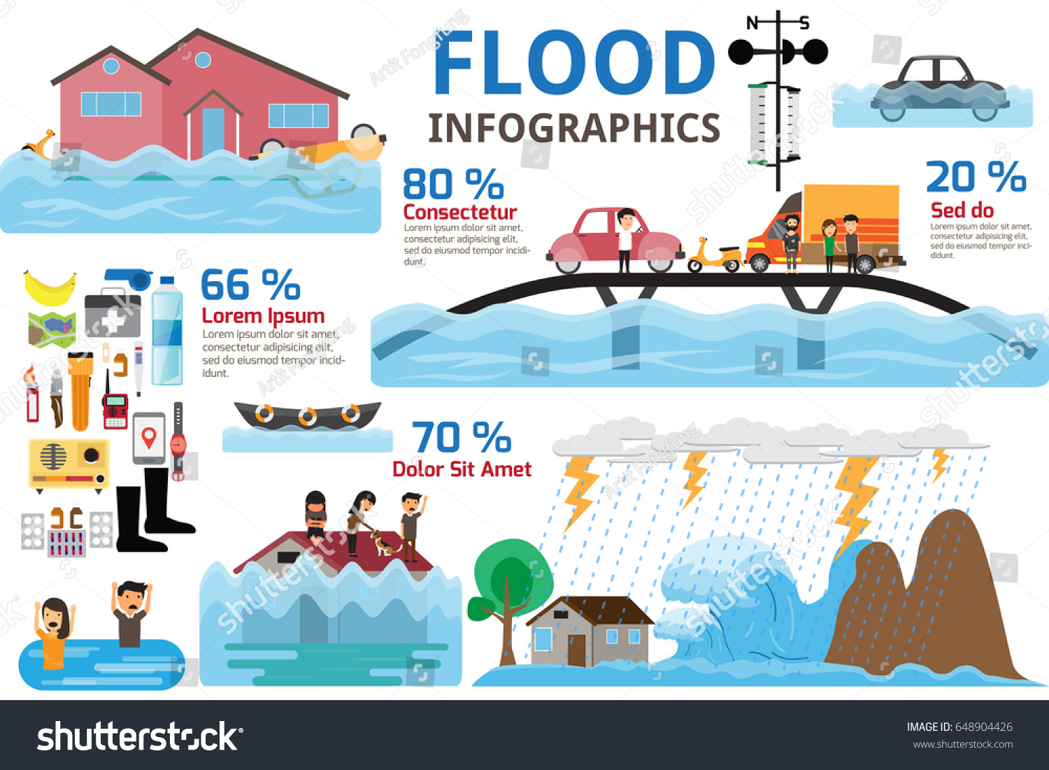 Infographics Brochure Elements Water Flood Disaster Stock