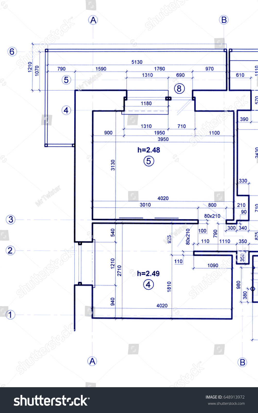 Part Of Construction Blueprint. Technical Project, Architectural Background.