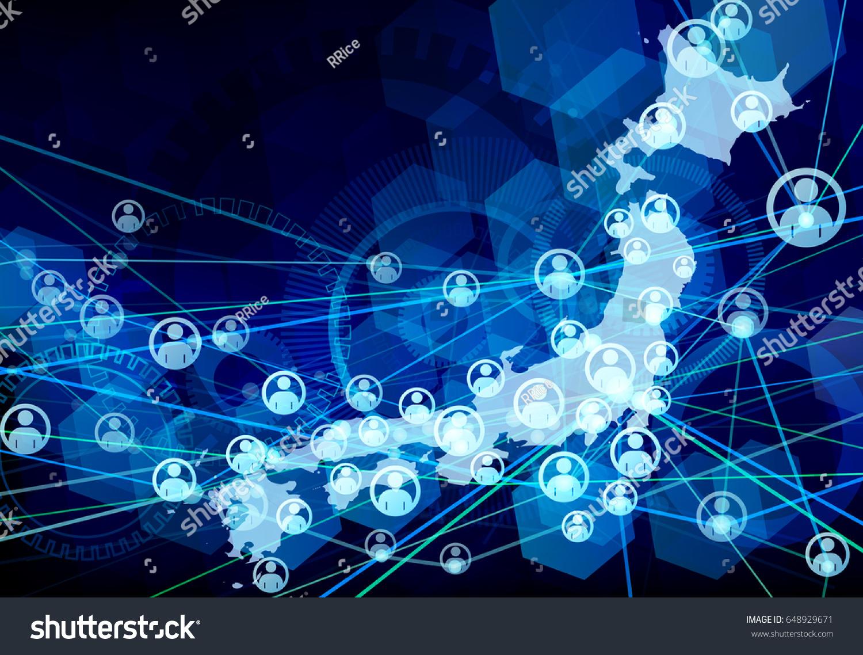 japanese network blue background