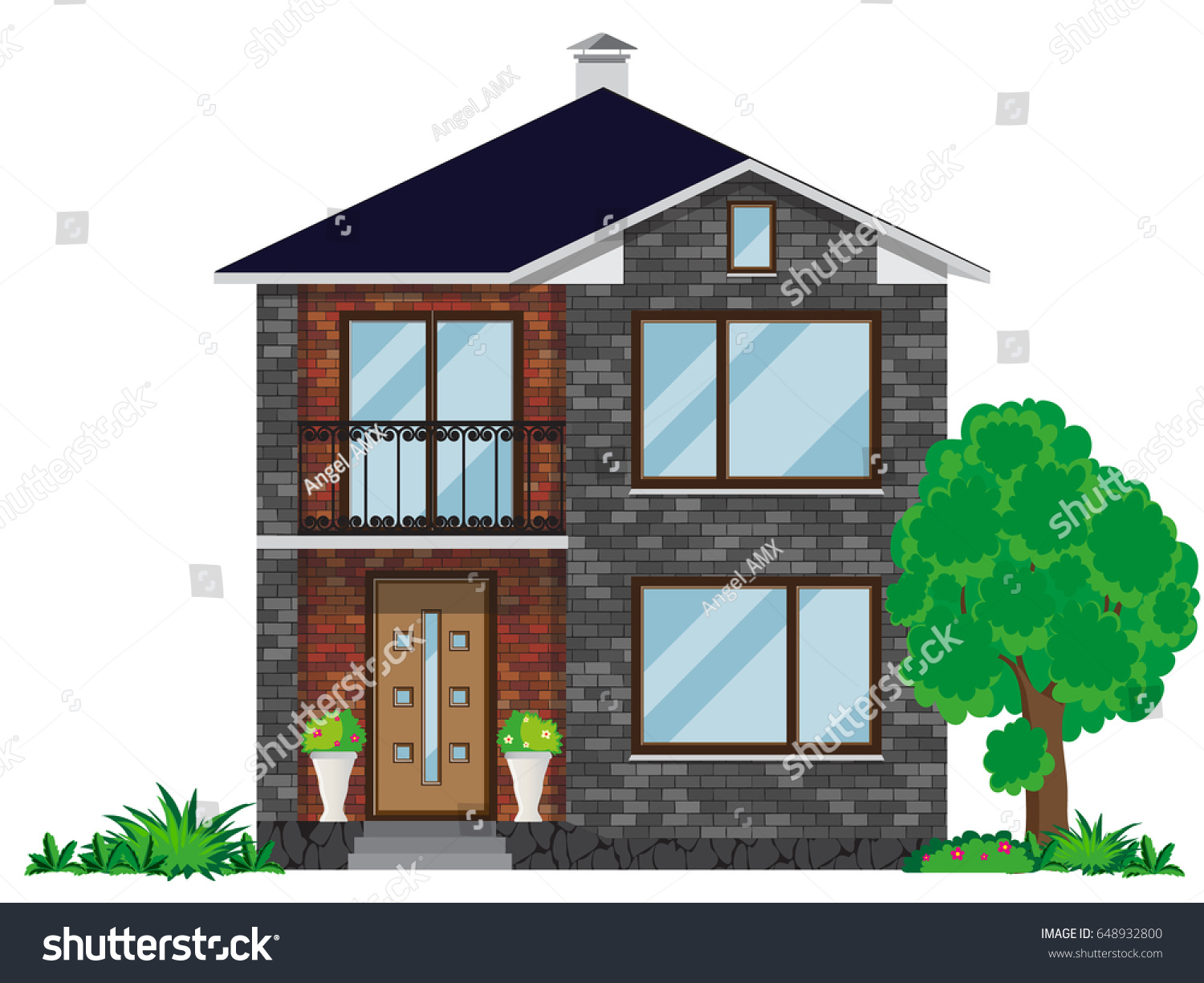 Facade brick house balcony twostory building stock vector for Building a 2 story house