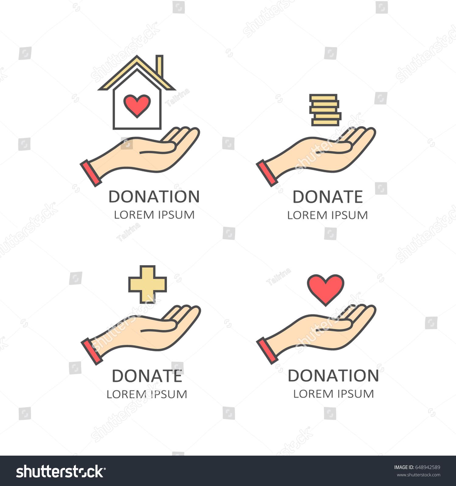 Set Symbols Charity Aid Donations Modern Stock Vector Royalty Free