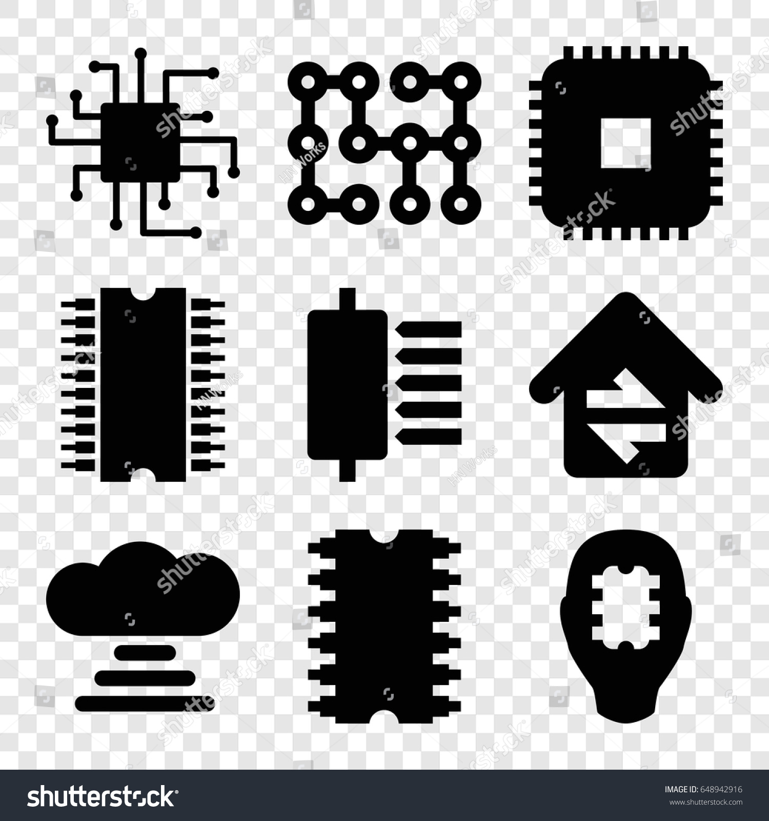 Circuit Icons Set 9 Stock Vector Royalty Free Home Electrical Design Of Filled Such As Connection Cpu