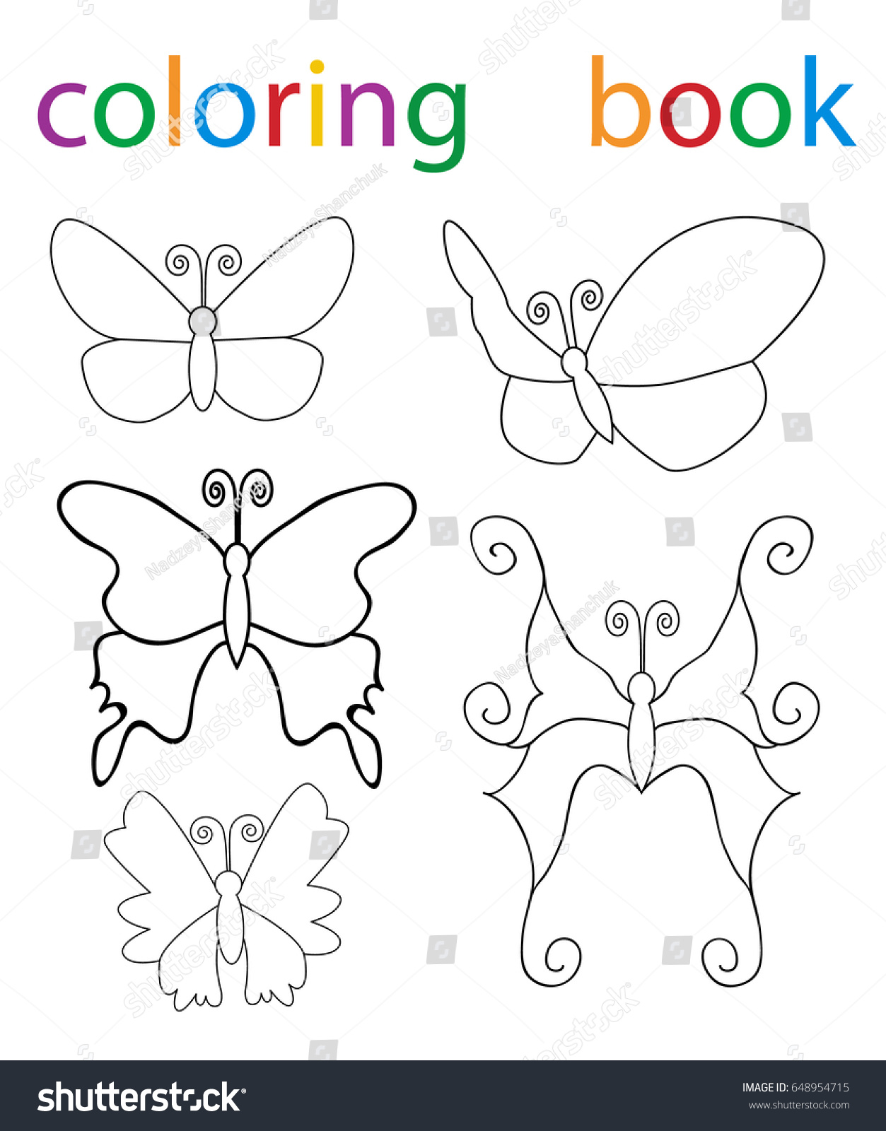 Book coloring cartoon butterfly character set stock illustration book coloring cartoon butterfly character set biocorpaavc Image collections