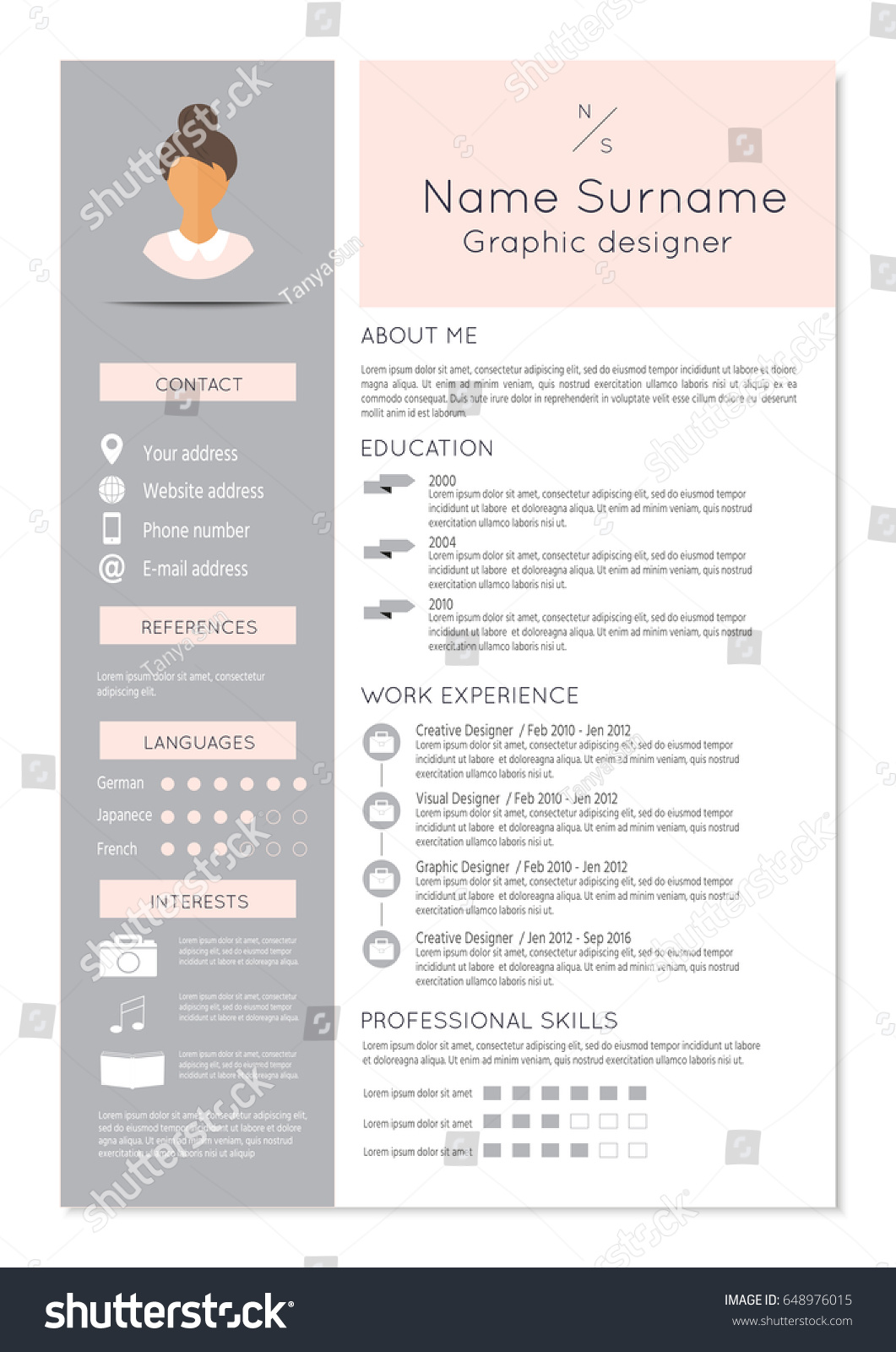 feminine resume infographic design stylish cv stock vector 648976015