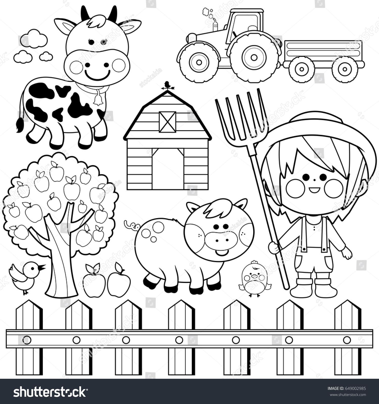 farmer boy set child farm animals stock vector 649002985