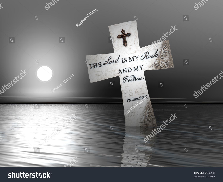 Religious cross bible verses water sunset stock photo 64900531 a religious cross with bible verses in water at sunset buycottarizona Images