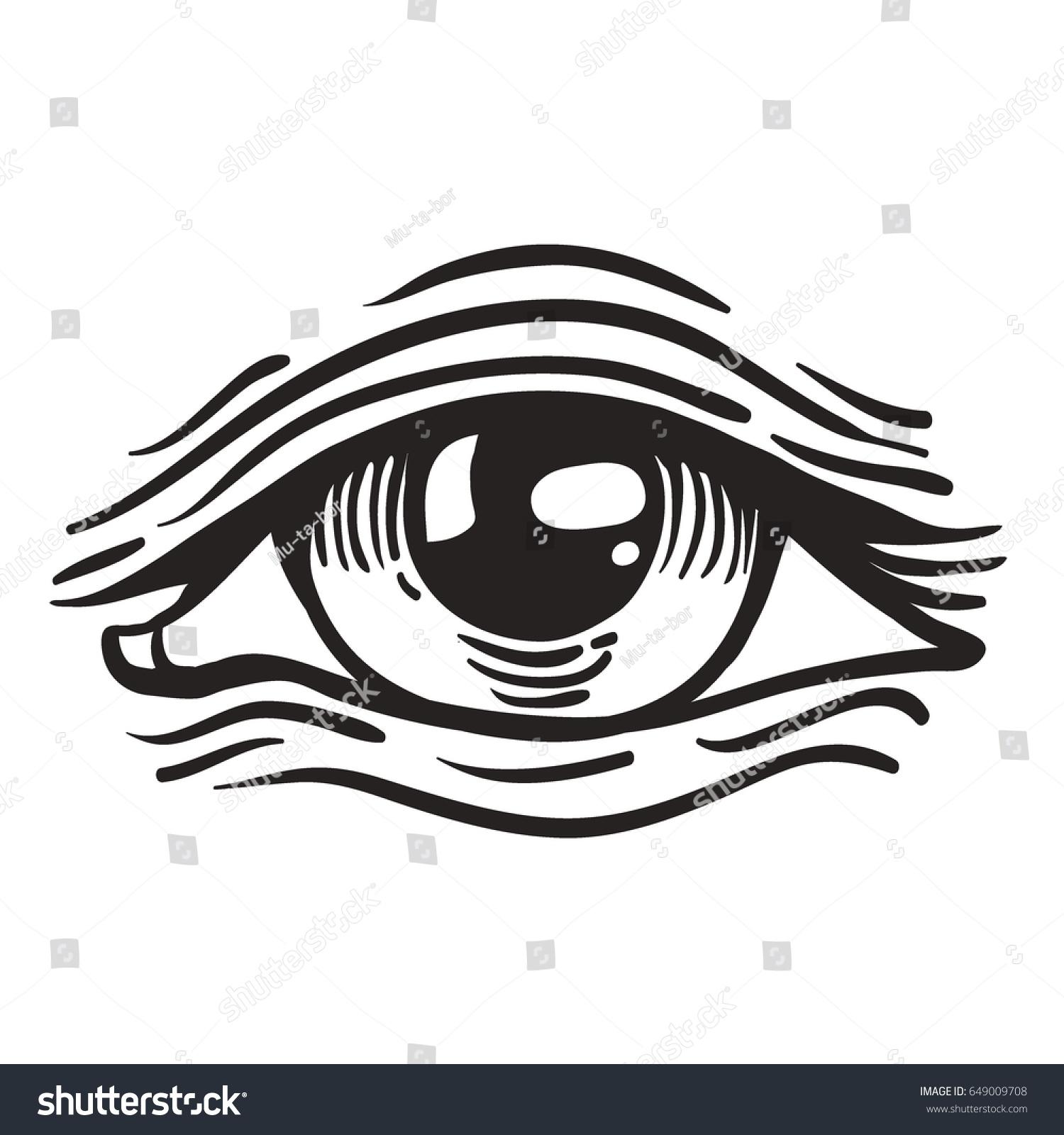 Vector Illustration Human Eye Vintage Engraved Stock Vector