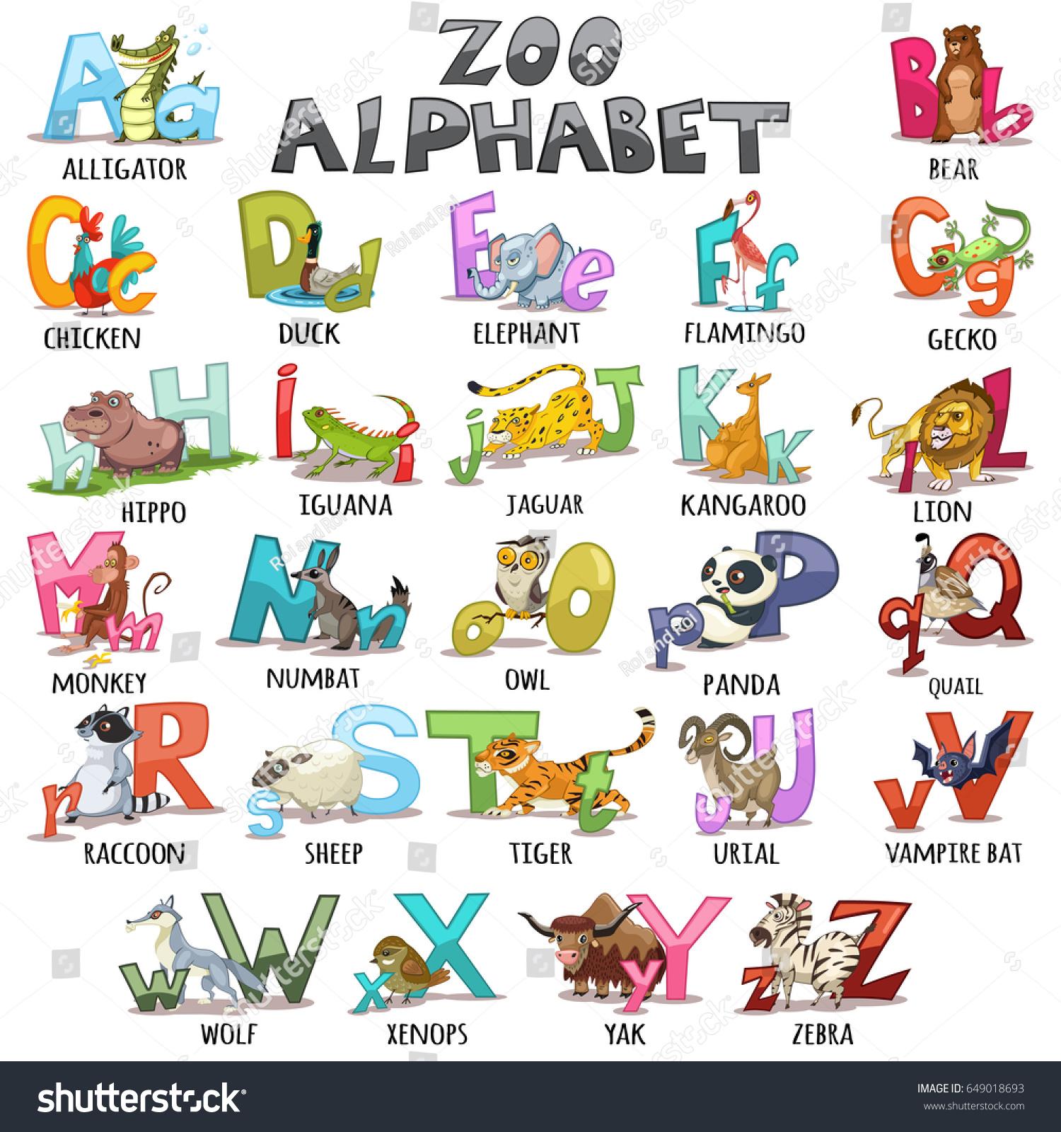 Alphabet Kids ABC Animals Letters Cartoon Stock Vector (Royalty Free ...