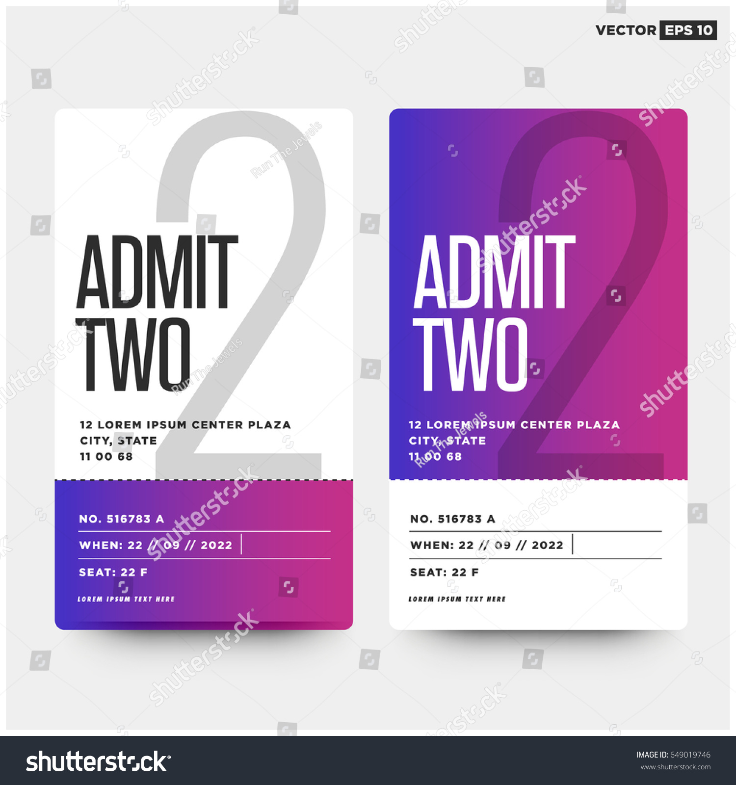 Admit Two Entrance Ticket Template Live Stock Vector 649019746