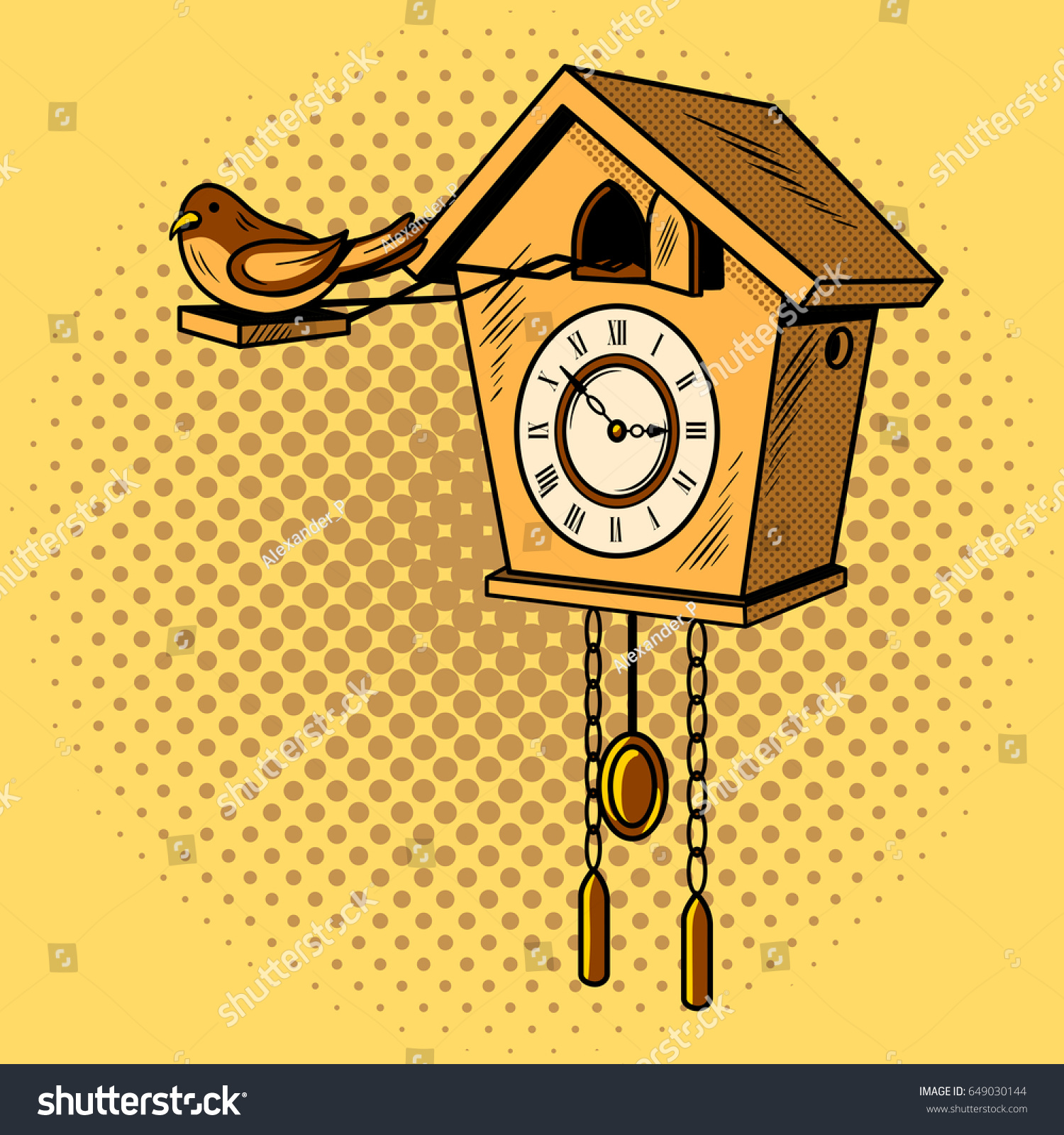 Cuckoo Clock Comic Book Pop Art Stock Vector 649030144 - Shutterstock