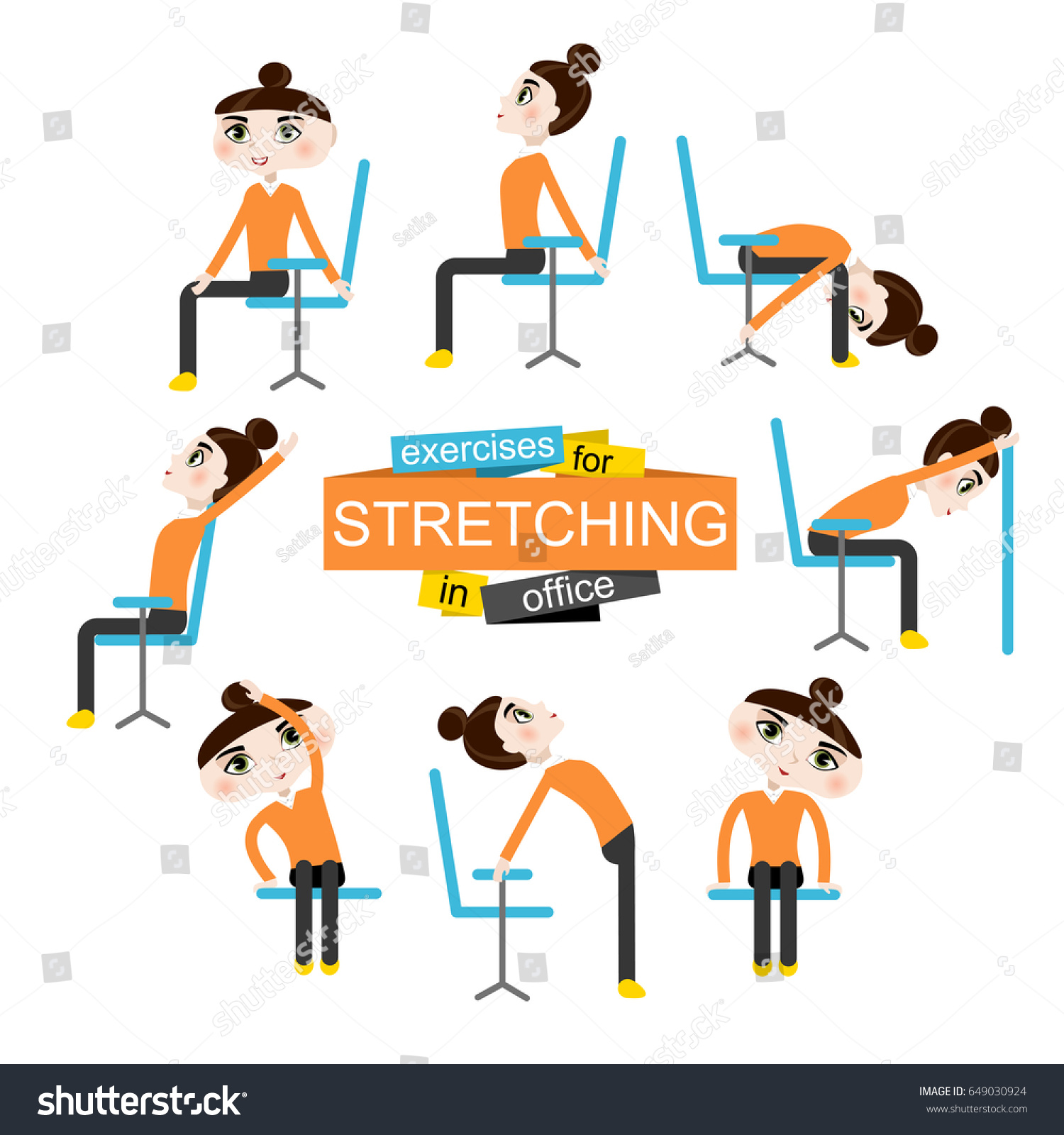 Pretty Girl Doing Exercises Stretching Stock Vector