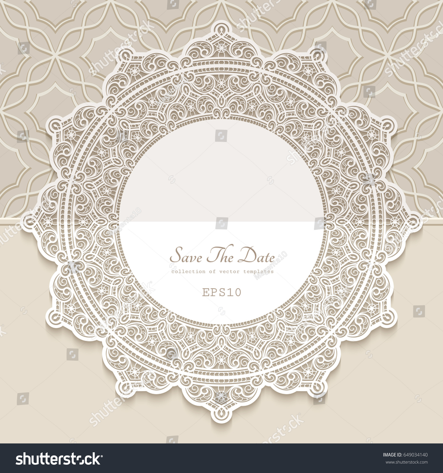 Vintage Round Frame Paper Lace Doily Stock Vector 649034140 ...
