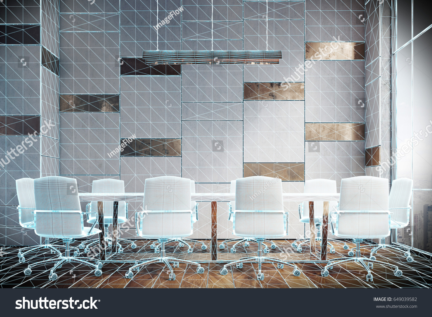 Virtual Meeting Room Interior Wooden White Stock Illustration ...