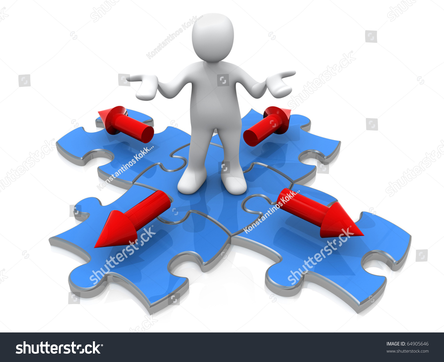 3 D Person Standing On Jigsaw Puzzle Stock Illustration 64905646