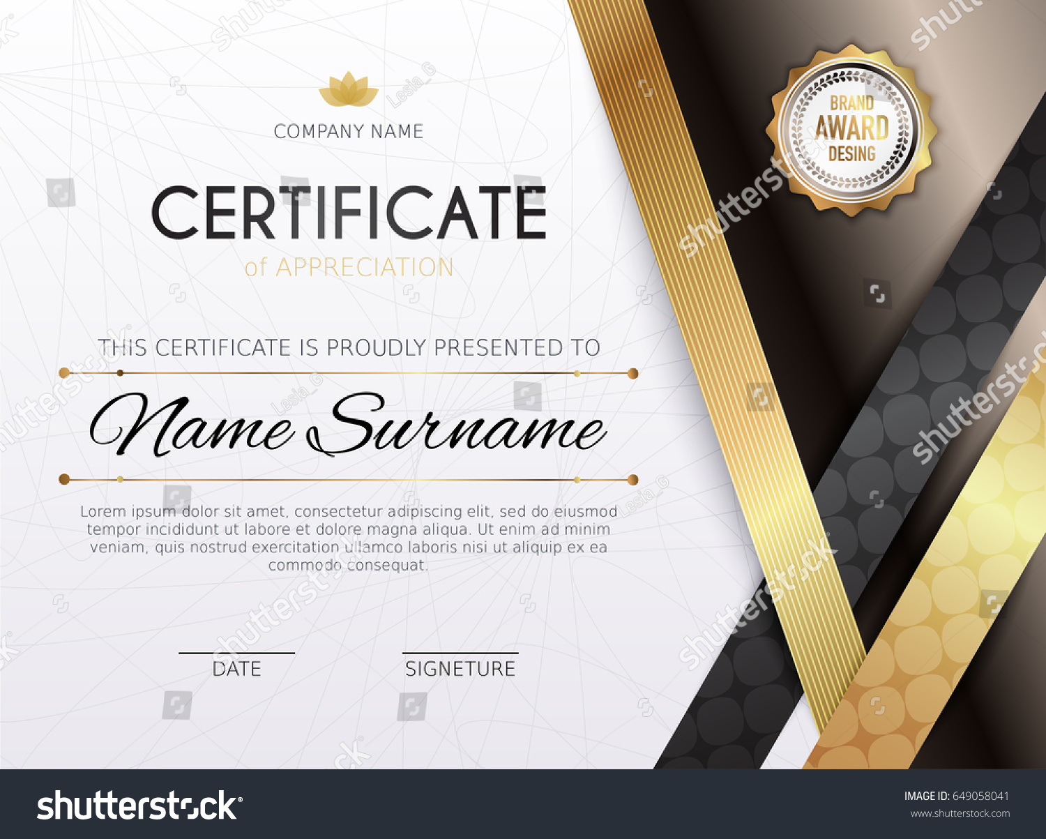 Certificate template golden decoration element design stock vector certificate template with golden decoration element design diploma graduation award vector illustration xflitez Choice Image