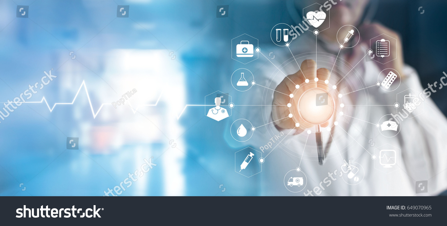 Medicine doctor and stethoscope in hand touching icon medical network connection  with modern virtual screen interface, medical technology network concept #649070965