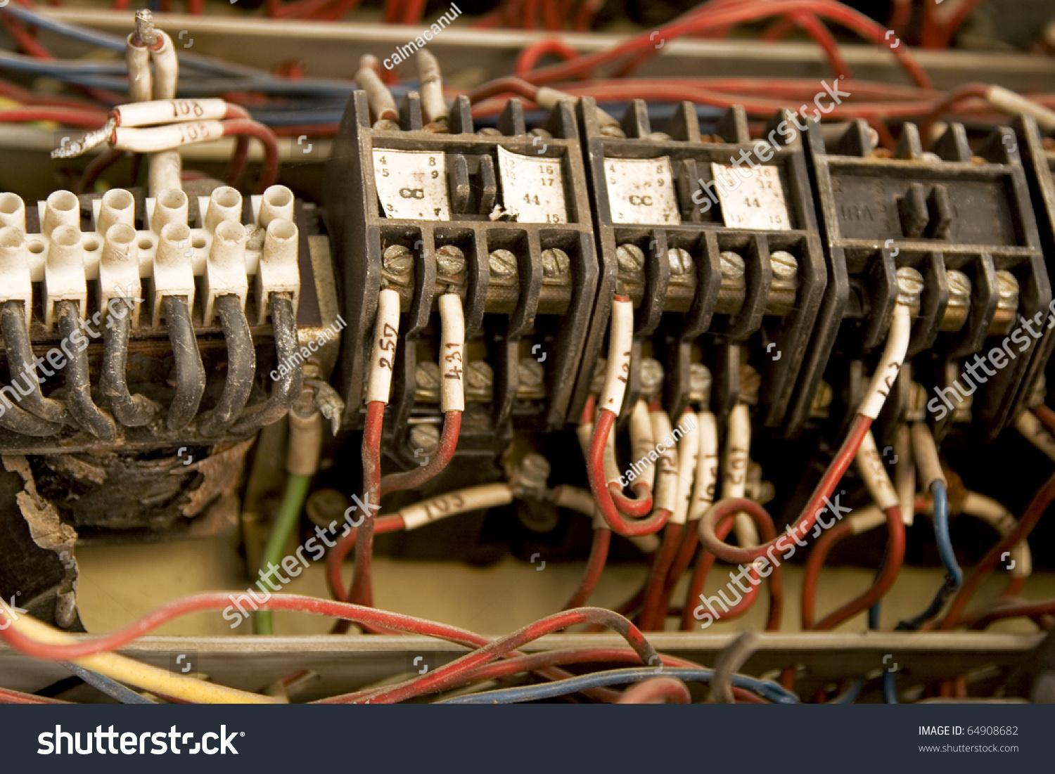 Details Old Electric Installation Colorful Wire Stock Photo Edit Electrical Wiring Of With