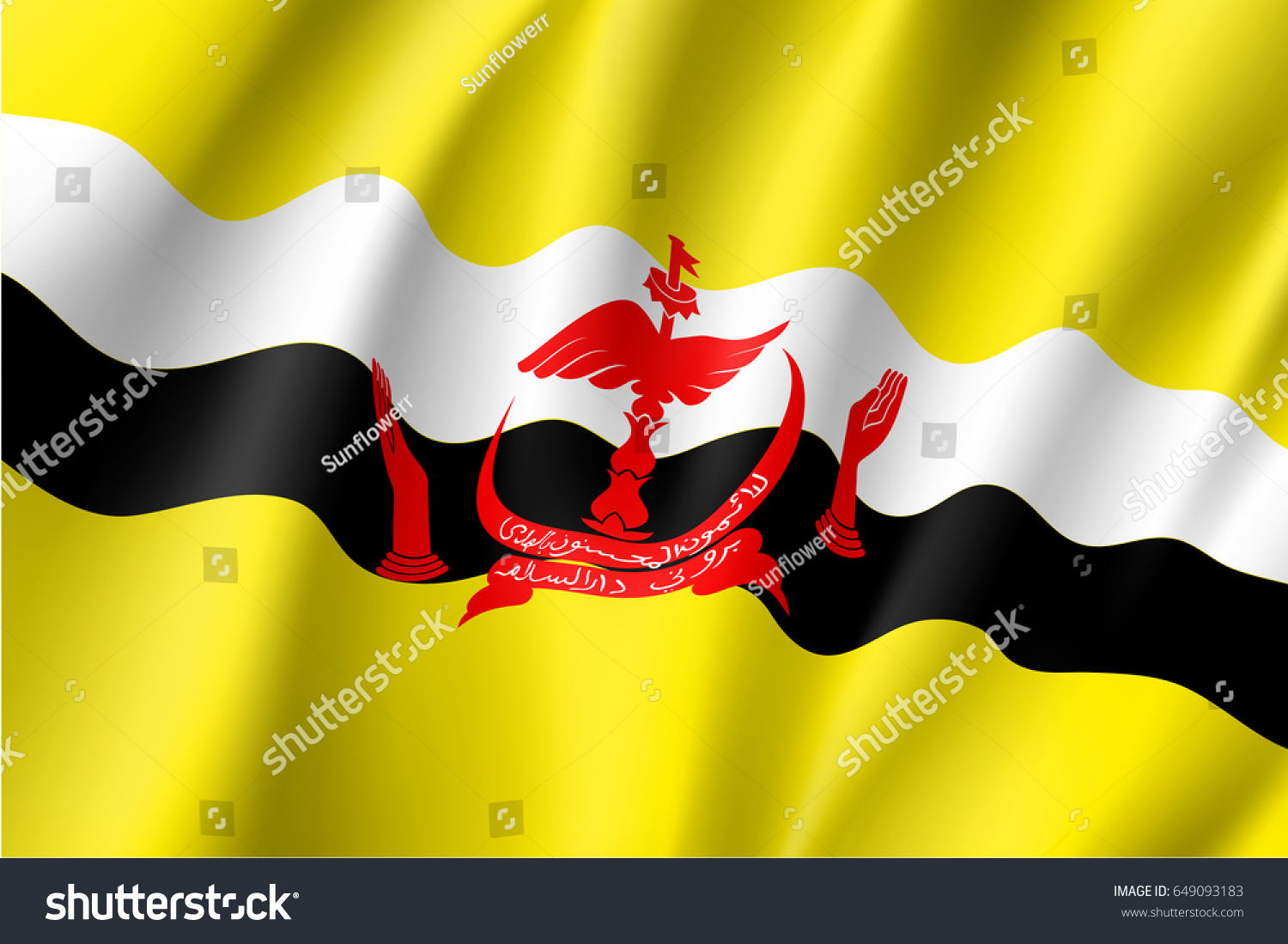Waving Flag Brunei Patriotic Sign Official Stock Vector Royalty