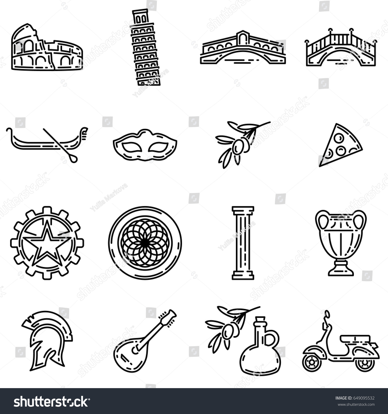 Set Various Italian Symbols Flat Outline Stock Vector Royalty Free