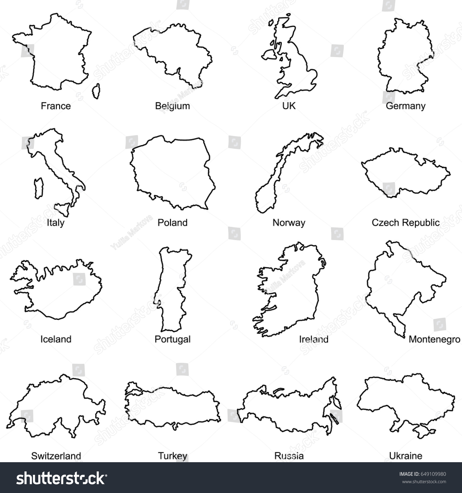 set european countries maps outline vector stock vector 649109980