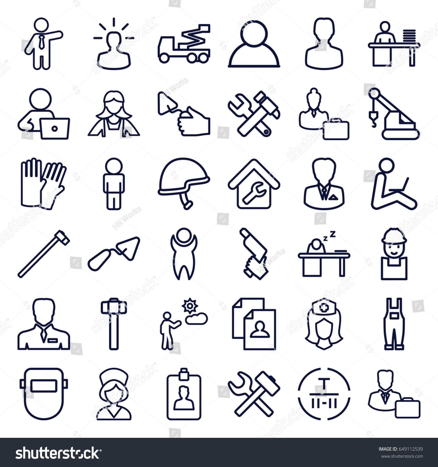 worker icons set set 36 worker stock vector 649112539 shutterstock