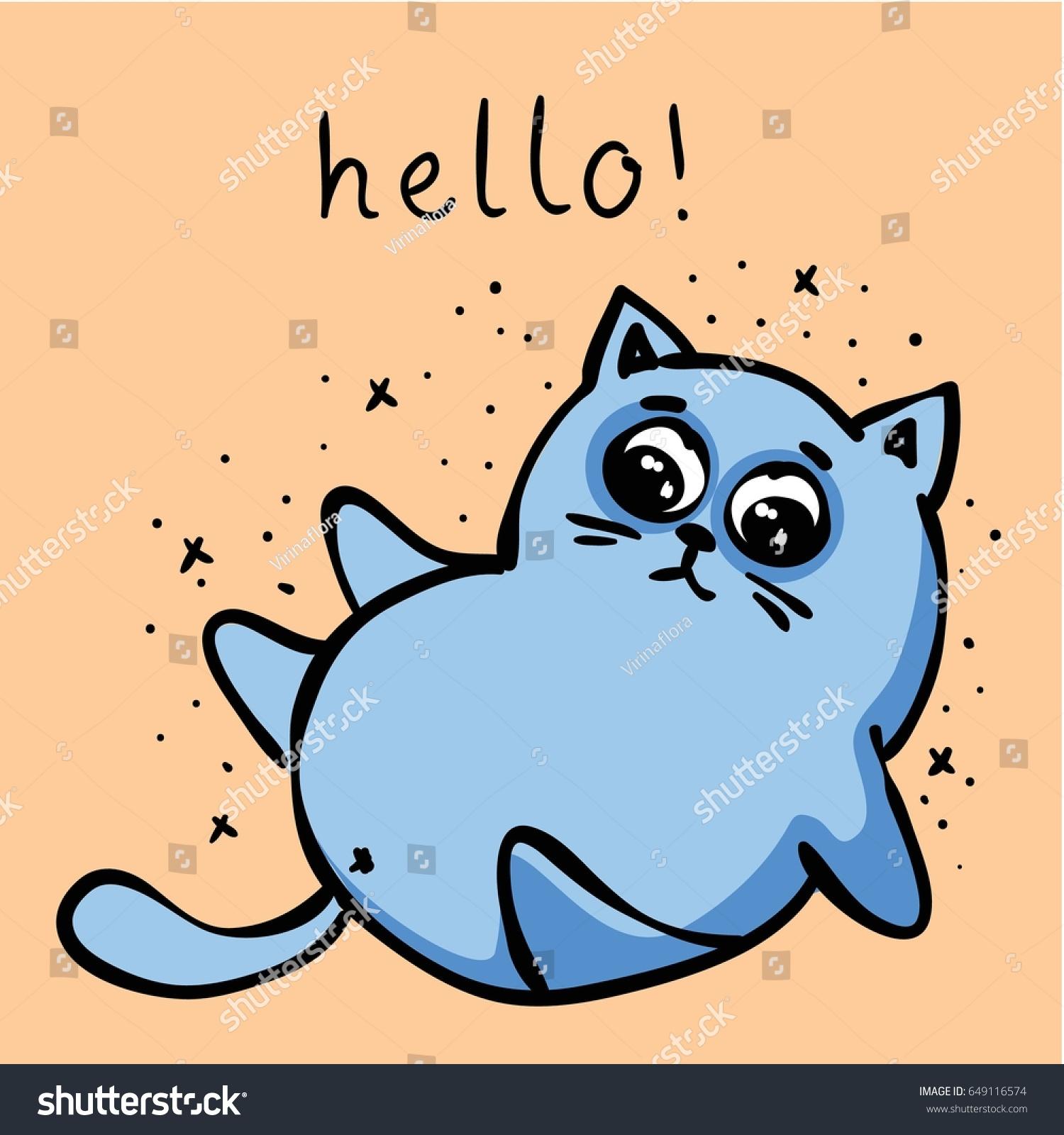 vector card cute doodle cat simple stock vector 649116574