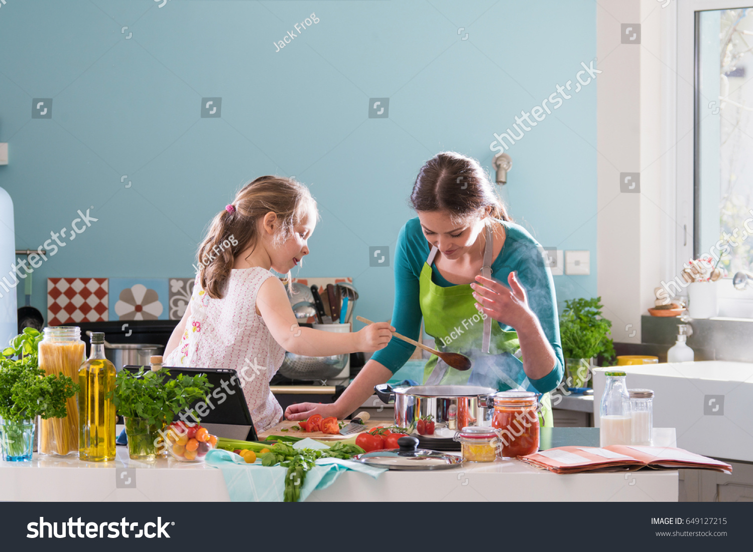 Young Mother Her Little Daughter Cooking Stock Photo (Royalty Free ...