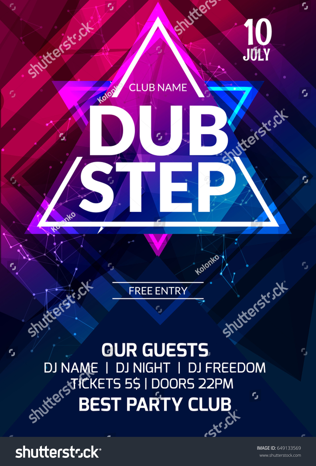 Dubstep Party Flyer Poster Futuristic Club Stock Vector 649133569 ...