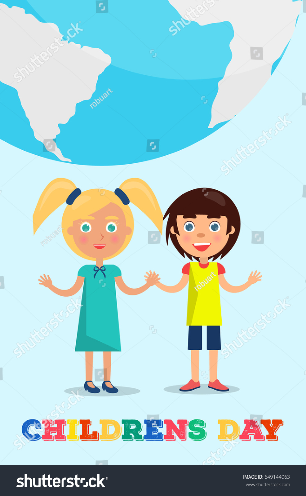 Small Girl And Boy Holding Under Earth Planet Showing Friendship Vector Poster 1 June International