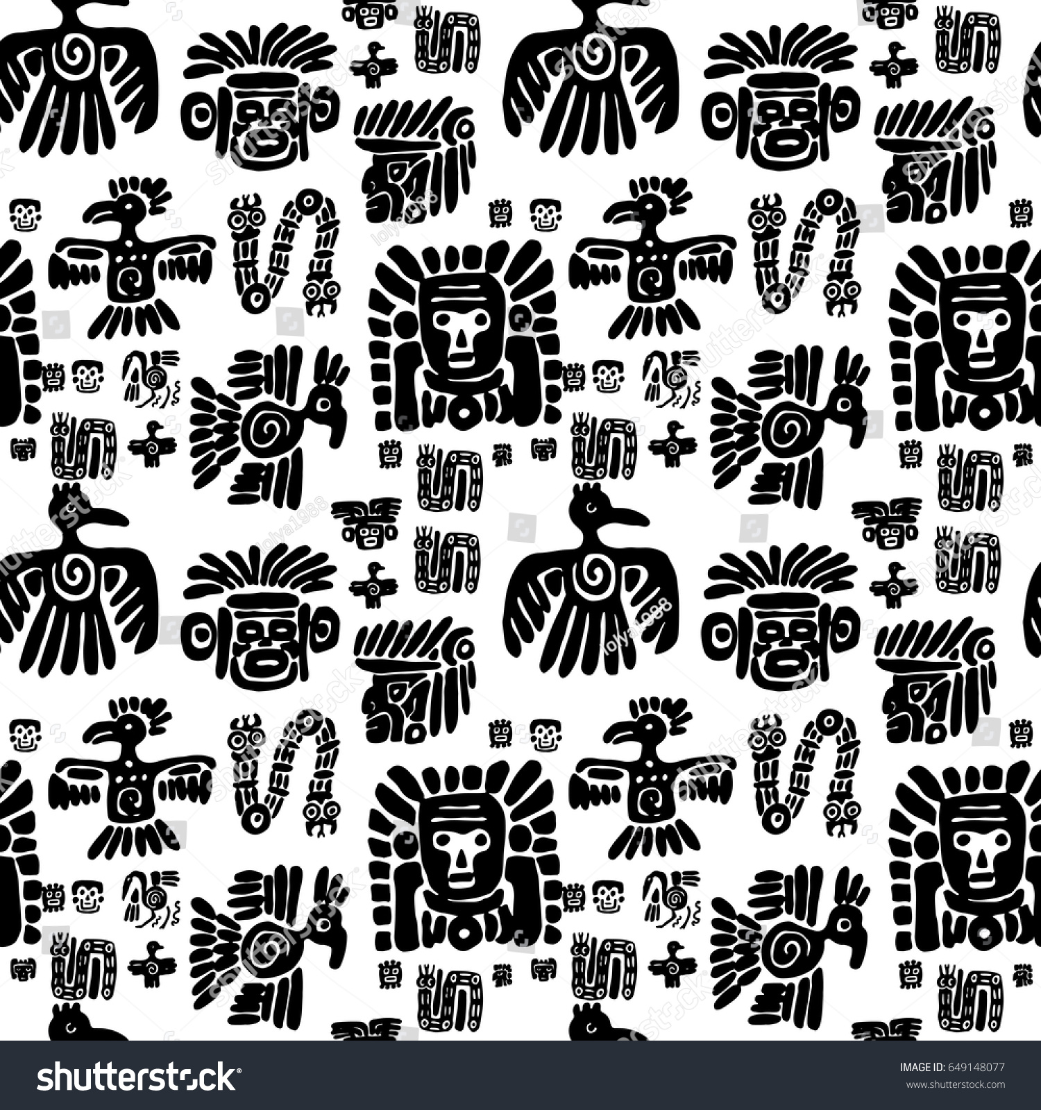 Seamless vector maya pattern black white stock vector 649148077 seamless vector maya pattern black and white ethnic elements tribal doodles ornament abstract biocorpaavc
