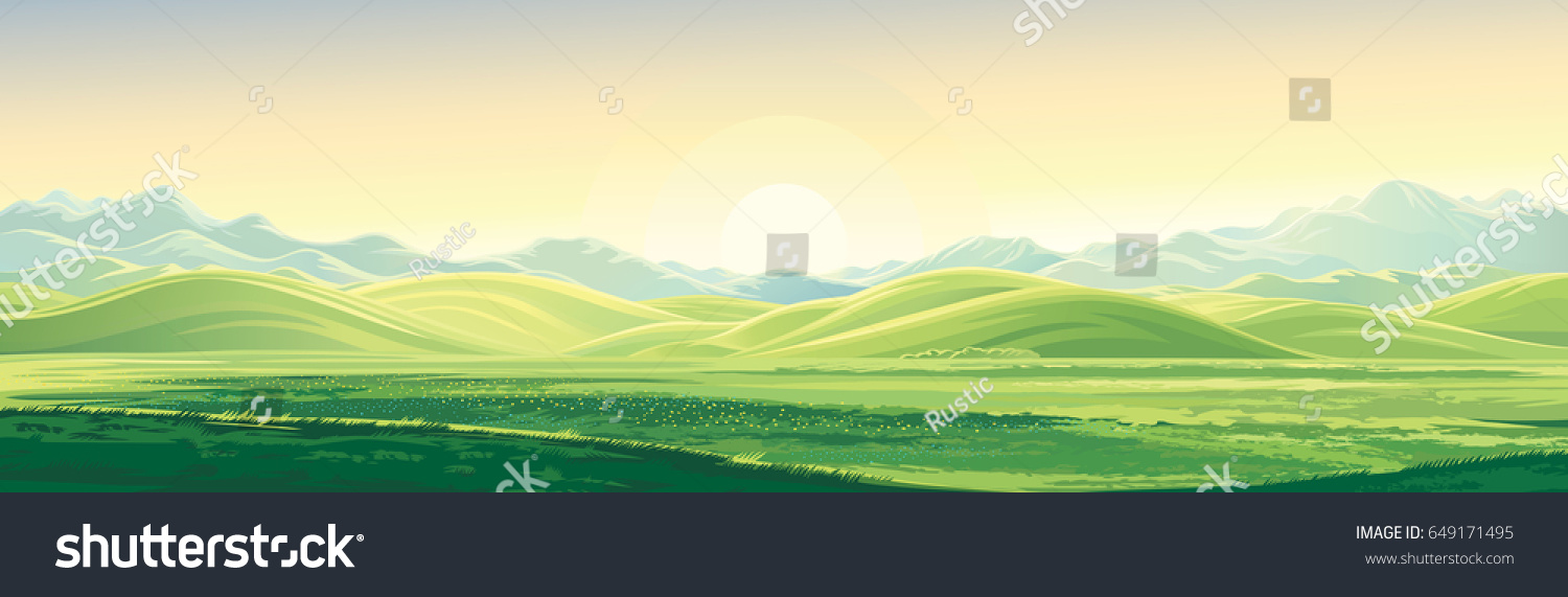 Mountain landscape with a dawn, an elongated format for the convenience of using it as a background. #649171495