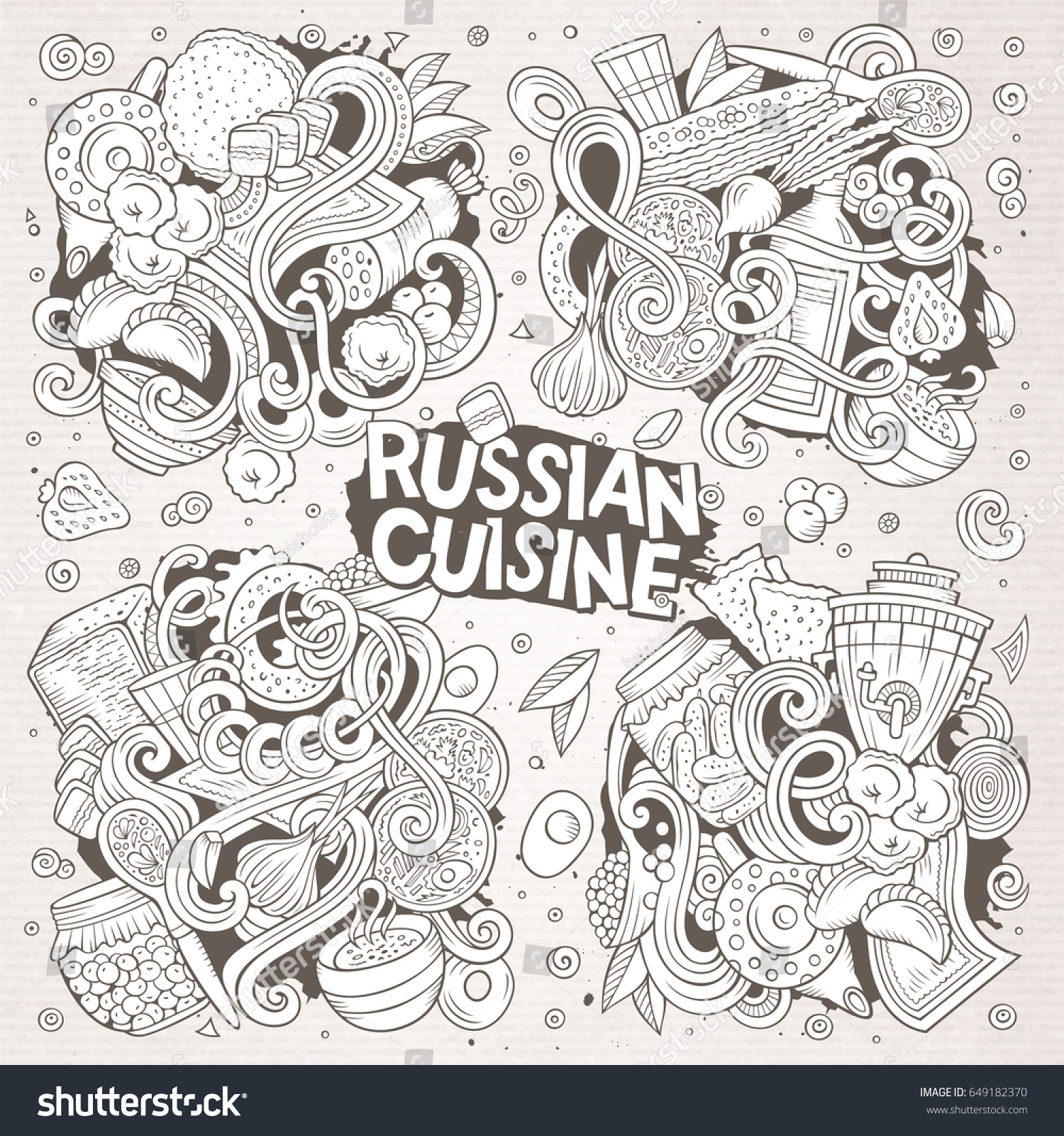Vector line art hand drawn doodle stock vector 649182370 for Art of russian cuisine