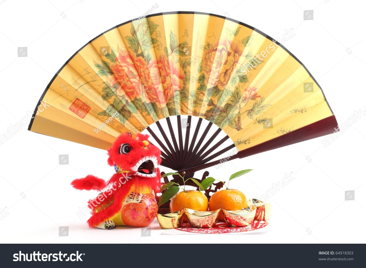 Chinese New Year Decorationtraditional Fan Gold Stock Photo ...